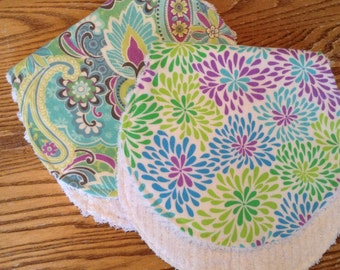 Flannel and Chenille Burp Cloths, Paisley and Pom Poms, ready to ship