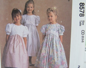McCall's 8578 Girl's Sewing Pattern Toddler Special Occasion Dress, Party Dress, Flower Girl Special Occasion Princess Dress, Size 2 - 4