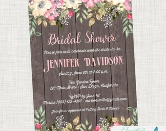 Rustic Bridal Shower Invitation | Floral Bridal Shower, Boho Bridal Shower,  Bohemian Bridal Shower, Garden Bridal Shower, Flower Bridal