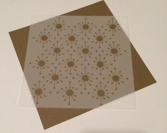 Square 5 inch stencil - Starburst, retro