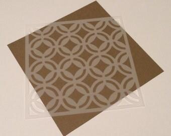 Square 5 inch stencil - Retro 4