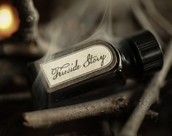 Fireside Story - Natural Perfume Oil with campfire, bonfire smoke, fireplace, woods, and vanilla - unisex scent