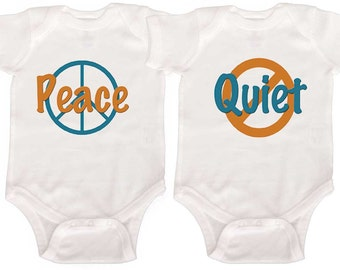 Funny Twin Bodysuits Boy Girl Twin bodysuits Baby Boy Twins Girl Twins Newborn Creepers to Toddler Tees Twin Outfits Fraternal Twins