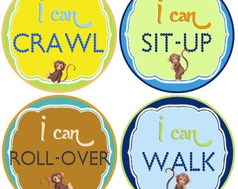 Baby Boy Stickers Baby Milestone Stickers Boy Monkey Stickers Baby stickers Monkey Stickers  I can Crawl, Walk Sit Up...