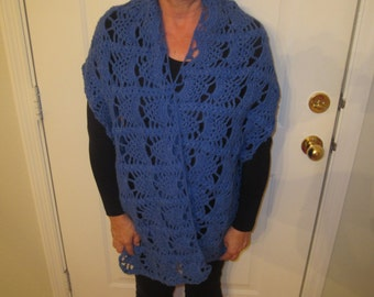 Blue Crochet Lace Rectangle Shawl