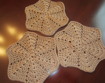 100% Cotton Beige Wash cloths / Dish Cloths - Set of 3