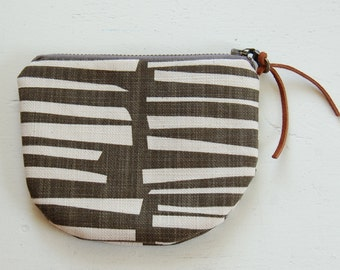 Strips on Choco-Grey Padded Round Zipper Pouch / Coin Purse / Gadget / Cosmetic Bag - READY TO SHIP