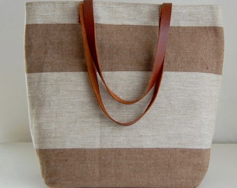 Brown Wide Stripe Linen Tote Bag with Leather Handles - READY TO SHIP
