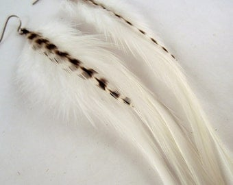 white and Grizzly Feather Earrings Natural White long