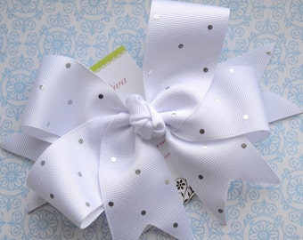 White with Silver Dots XL Diva Bow