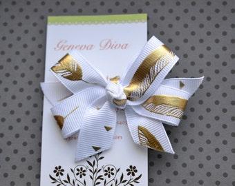 Golden Feathers on White MINI Diva Bow