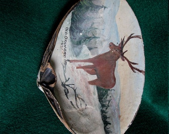 c1921 Old Orchard Beach Maine Hand Painted Sea Shell