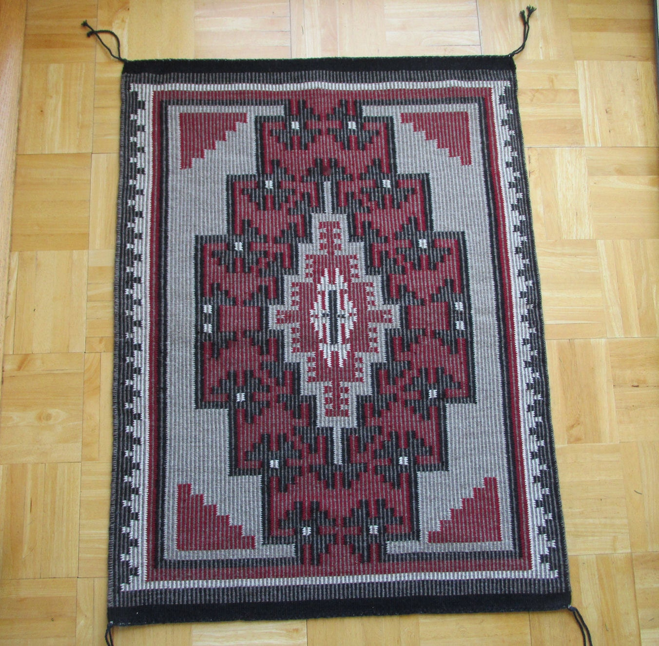 Rare Twill Pattern Najavo Native American Indian Rug By
