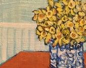 "Upstairs Surprise - Original Acrylic Oil Encaustic Still Life Painting - 8""x 8"""