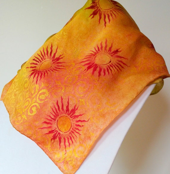 Sunset scarf -  multi-colored orange, pink, yellow gold, silk scarf, women's scarves, multicolored scarf