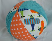 AIRPLANE Fabric Jingle Ball Baby Toy LARGE 7""