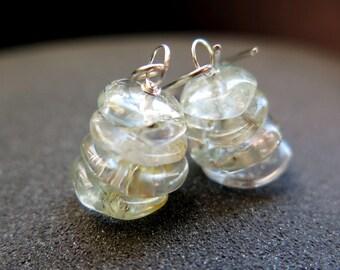 rutilated quartz jewelry. sterling silver dangle earrings. natural stone jewellery.