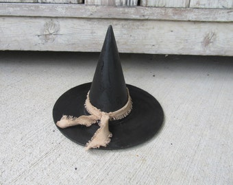 Primitive Small Paper Mache Black Halloween Witch Hat GCC4977