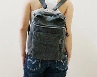Backpack, Sling Bag, Crossbody bag, Shoulder Bag, Zipper Bag, Rucksack, Satchel, Gift for Women - DARLZ in Pre Washed Black - SALE 30% OFF