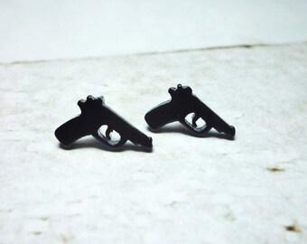 Mini Black Gun Stud Earrings