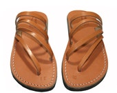 CLEARANCE SALE - Caramel Rainbow Leather Sandals for Men & Women - EURO # 37 - Handmade Unisex Sandals, Genuine Leather Sandals, Sale