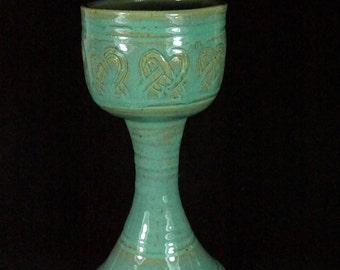 Green Celtic Heart Goblet Handmade Pottery