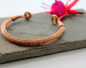 Viking Knit Wrist Torc - shiny Copper - large, Celtic Torq or Torque