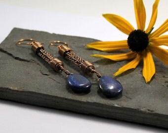 Viking knit Droplet earrings - Bronze and Lapis Lazuli