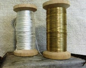 vintage French thread, gold and white/silver
