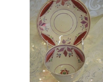 Antique Staffordshire Pink Lustre Cup And Saucer - Mid 1800's
