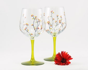 Hand painted wine glasses - Set of 2 - Louisa Collection with yellow, red and gold berries