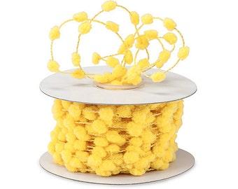 Yellow Wired Pom Pom Ribbon . 5 yards