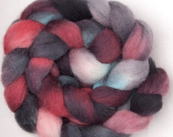 Hand dyed roving, CHEVIOT,hand painted British wool, tops, roving, fibre, fiber,  Colour; Blackmore