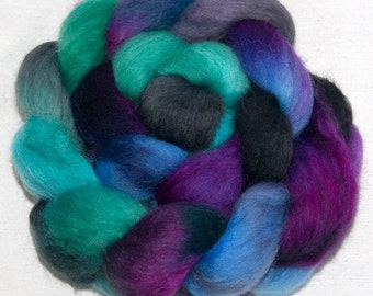 Hand dyed combed top, roving, Hand painted  Corriedale,  spinning wool,  felting fibre, fiber, colour; Larkspur