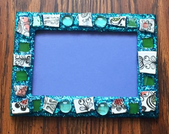 Flower Power Recycled Stained Glass Picture Frame (holds a 4 x 6 photograph)