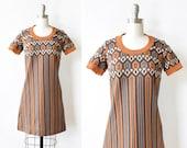 60s mod dress, vintage mod scooter dress, extra small brown and orange mod mini dress