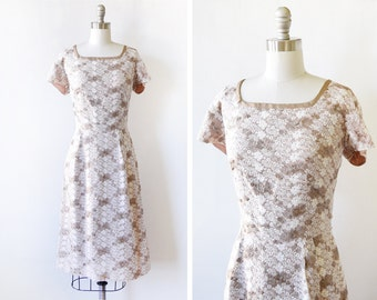 60s lace floral dress, vintage 1960s embroidered lace dress, short sleeve garden party dress, medium large ml