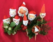 Vintage Christmas Santa Picks Spun Cotton, Chenille, Plastic 50s 60s Xmas Decorations Japan