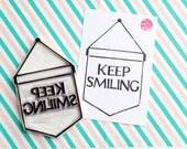 keep smiling rubber stamp. banner flag hand carved rubber stamp. ribbon banner stamp. quote craft stamp. birthday wedding scrapbooking. XL