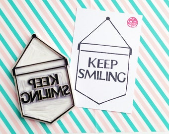 keep smiling rubber stamp. banner flag hand carved rubber stamp. ribbon banner stamp. quote craft stamp. birthday wedding scrapbooking. XL