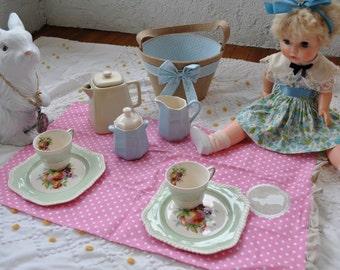Sweet Pastel Bone China Tea Party Set/Vintage C. 1960s/2 Snack Plates W Tea Cups/Teapot Creamer and Sugar/Picnic Basket and Tea Cloth
