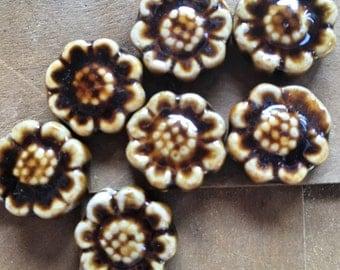 8 Ceramic porcelain brown glass flowers