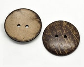 2 Large buttons 1 3/4 inch coconut buttons 44mm - Natural Wood and Eco Friendly buttons  (BC603K)