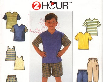 Simplicity Sewing Pattern 7990 Child pants or shors and knit top and tank top Pattern Sz 5-8