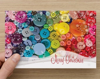 Christmas buttons greeting card - Snow Merry Christmas for Sewing Lovers