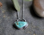 Sterling Turquoise 14ct Gold Necklace, Oxidised, Sterling Silver Gemstone Statement Pendant - Forget me Not Necklace in Turquoise