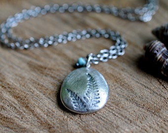 Sterling Turquoise Fern Necklace, Oxidised, Sterling Silver Gemstone Charm Necklace - Pebble Necklace in Fern