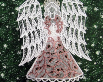 Rose Trimmed Victorian Lace Angel Tree Topper