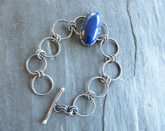 Bracelet with Lapis and Hand Made Chain in Sterling Silver