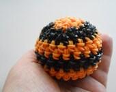 Rainbow Loom Loomigurumi Stress Ball Orange and Black Halloween